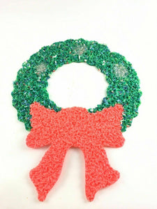 CHRISTMAS WREATH DECORATION VINTAGE DOOR GREETER MELTED PLASTIC POPCORN  4495