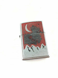 Vintage Red Zippo Lighter - Moon over Mountains 4756