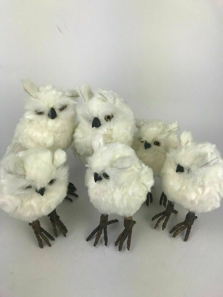 Assorted Lot Of 6 White Snow Owls- 4.9 inches High Each- Lot 545