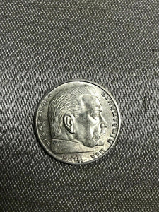 1939 A Nazi Germany 2 Reichsmark silver mark German coin WWII war relic-2375