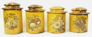 4pc HOLIDAY DESIGNS POTTERY CANNISTER SET lot 2782
