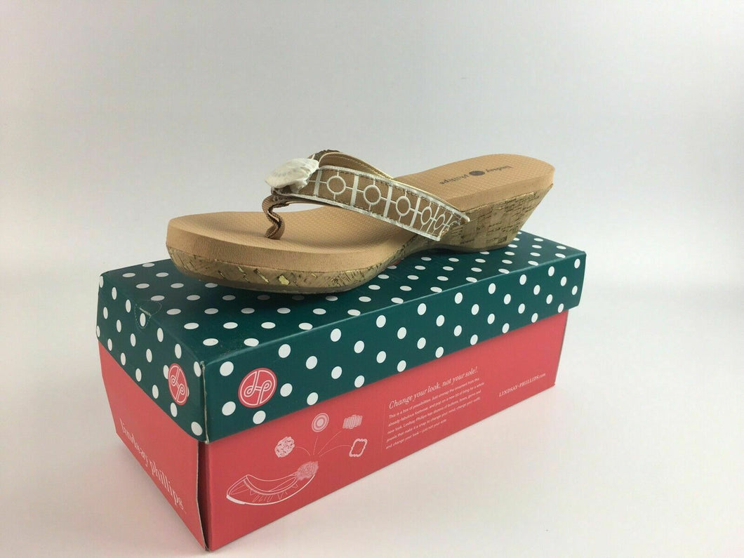 NIB LINDSAY PHILLIPS CHANGEABLE STRAP SHOE YOGA LYNNE TAN SIZE 10 - LOT 4065