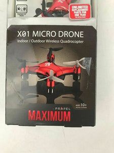 Propel Maximum X01 Micro Drone Wireless Quadrocopter - Red (VL-3512) Refurbished