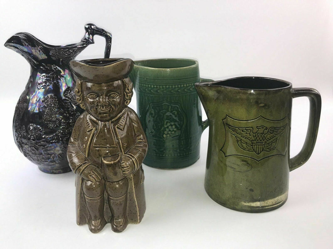 (4) ASSORTED STONEWARE PITCHERS - LOT 3014