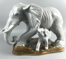 Load image into Gallery viewer, White porcelain carved elephant w/ baby statue- 1125