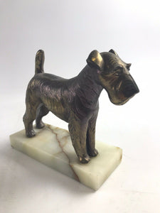 VINTAGE AIREDALE IRISH TERRIER SCOTTIE BOOKENDS SOLID BRASS MARBLE ONYX BASE5319