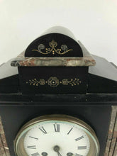 Load image into Gallery viewer, Antique Japy Freres Roehm & Son Detroit Slate/Marble Shelf Mantel Clock #1599