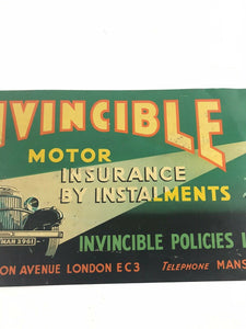 "Invincible Motor Insurance Original Vintage Tin Metal Sign 20"" Nice Graphics5270"