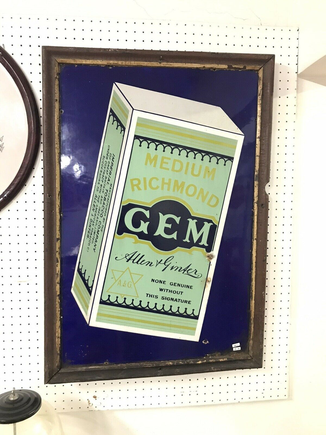"Vintage GEM A&G Porcelain 35"" Sign W/ Wood Framed"