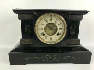Antique Cast Iron Mantel Clock Open Escapement Dial #1600