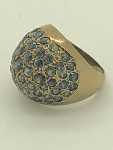 10k GOLD AND BLUE STONE DOME CLUSTER RING 5.6g size 6  5112