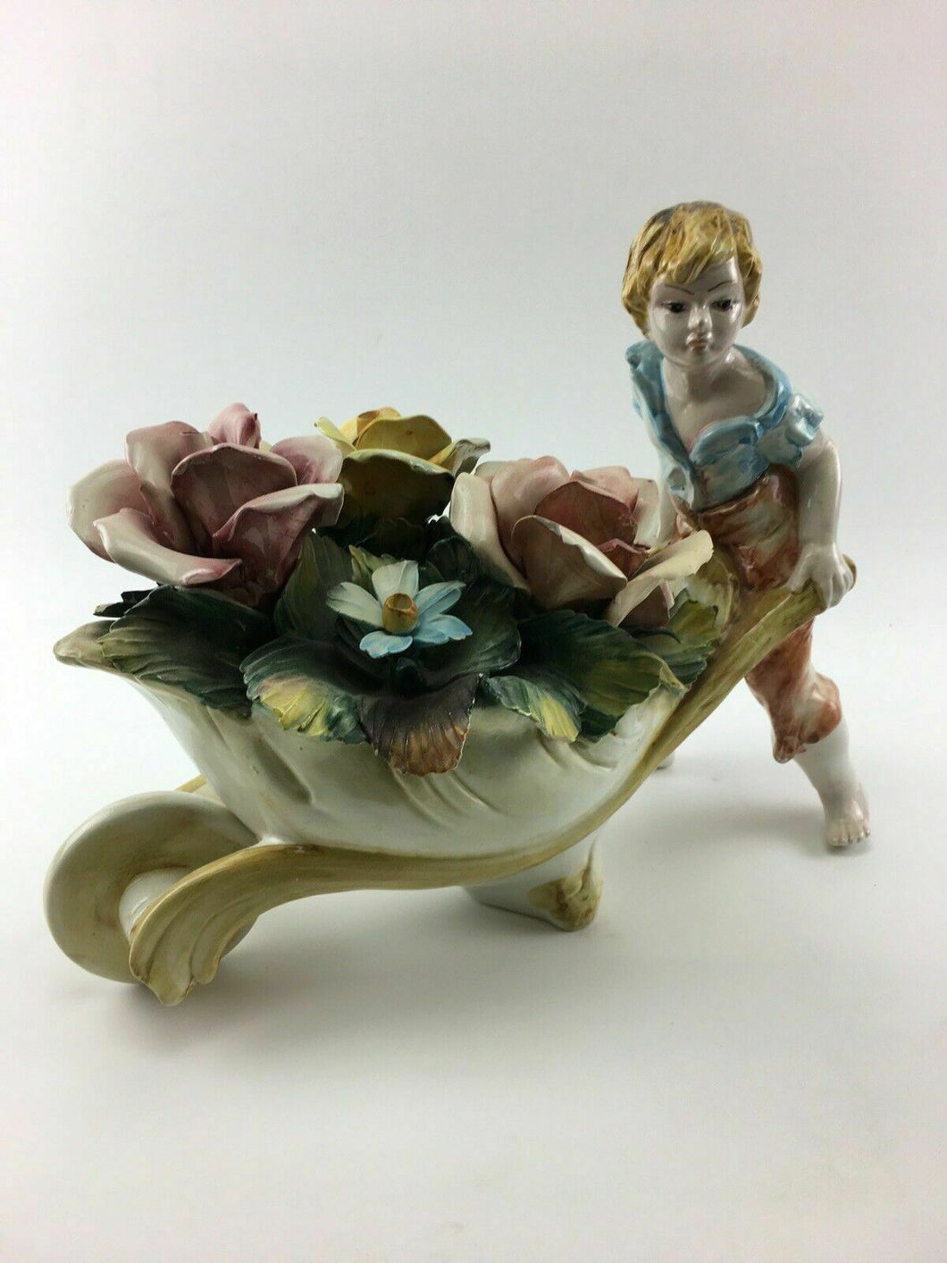 Vintage Capodimonte Large Wheel Barrel With Flowers - Lot 3278