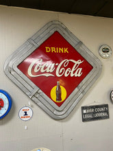 Load image into Gallery viewer, 1940 Coca Cola Diamond Framed Metal Sign Art Deco Frame! Rare Signed Piece