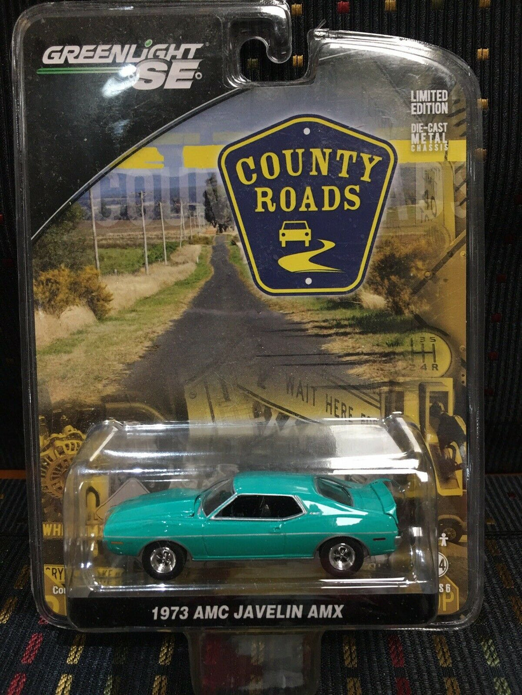 Greenlight County Roads AMC Javelin AMX Diecast 1/64 Scale Turquoise Green