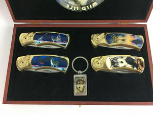 Collector Wildlife Lockback (4) Wolf Knives W/ Case - Lot 3846