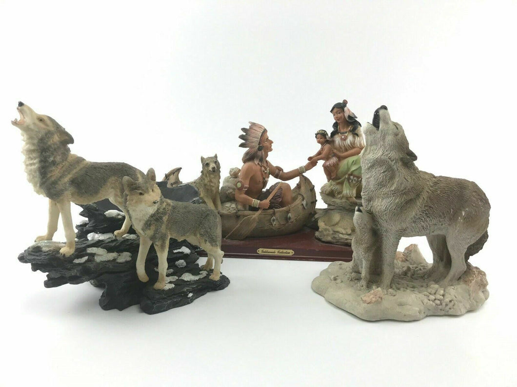 Assorted Lot Of (3) Decorative Wolf Pieces- 3698