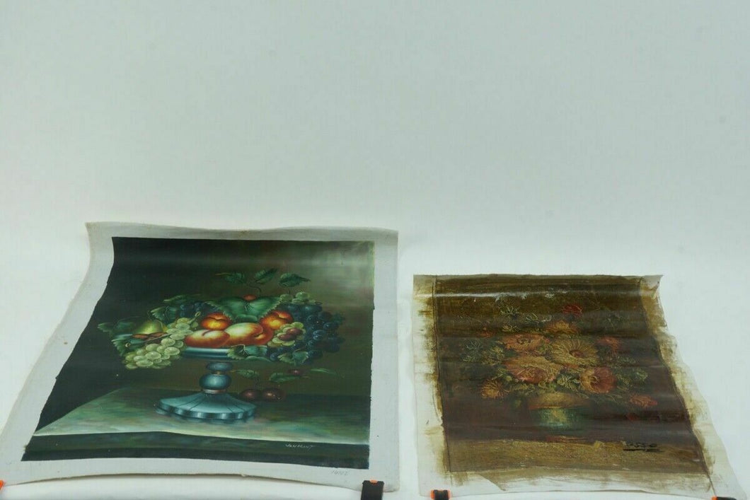 (2) UNFRAMED OIL ON CANVAS STILL LIFE PAINTINGS - LOT 2982