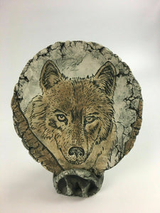 "Vintage ""Shapes Of Clay By Stan"" Wolf Plaque W/ Stand - Lot 3852"
