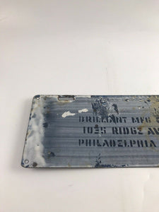"Antique Porcelain ""PENNA"" 127228 License Plate- BRILLIANT Mfg-5261"