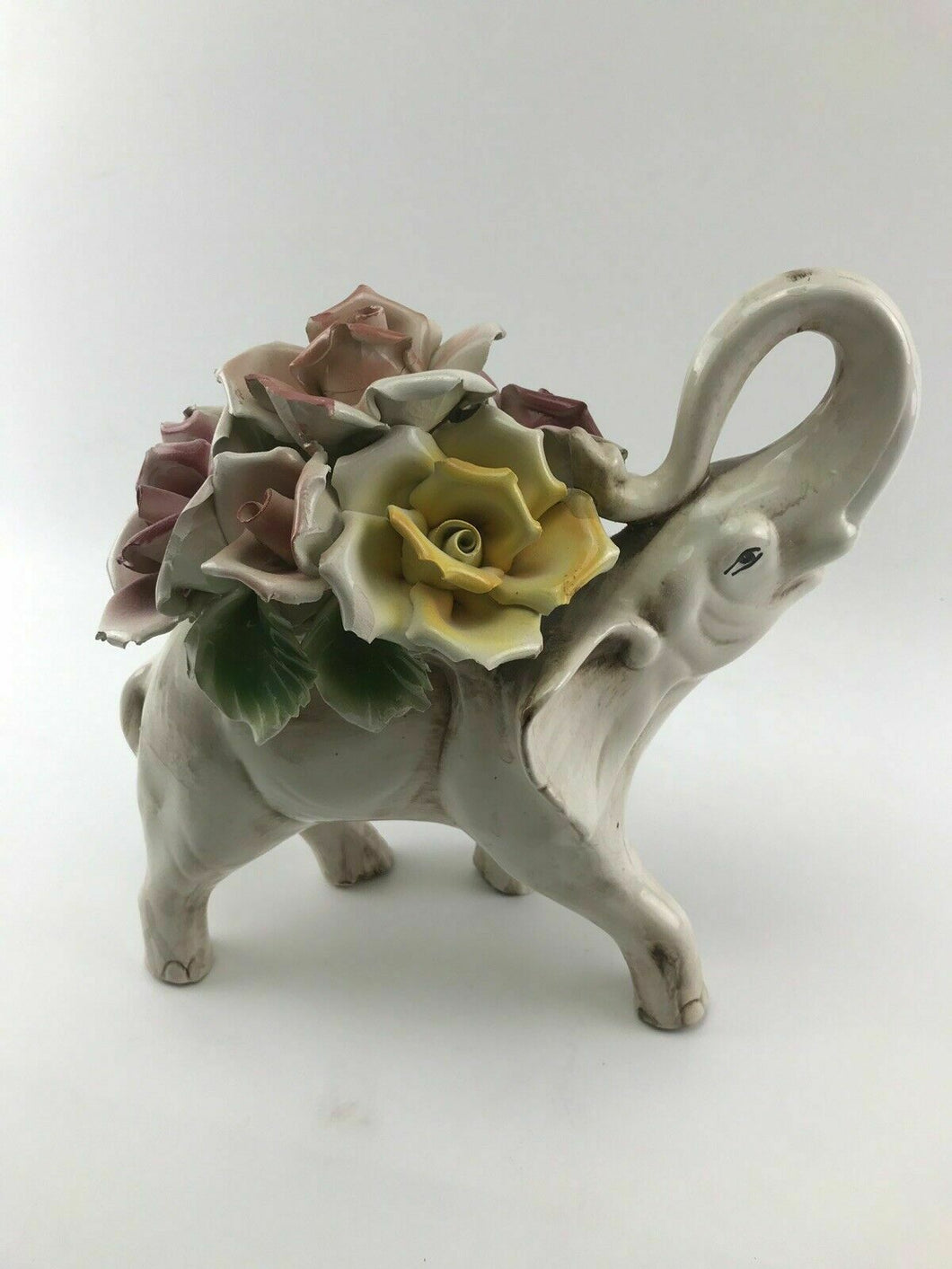 Vintage Capodimonte Elephant With Flowers - Lot 3303