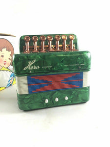 Vintage Green Hero Childs Accordion UC 102 WITH BOX 4500
