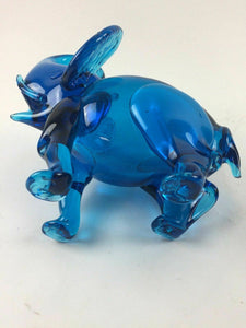 Blue Blown Glass Elephant Figurine - lot 1321