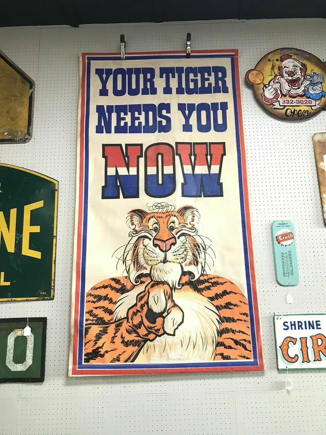 "Vintage E.S.S.O (Standard Oil) ""Your Tiger Needs You Now"" Banner"