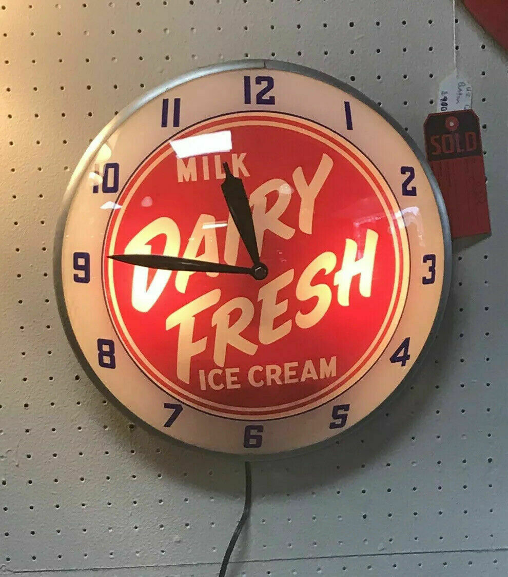 Vintage Double Bubble Pam Clock Milk Dairy Fresh Ice Cream- Mint-working