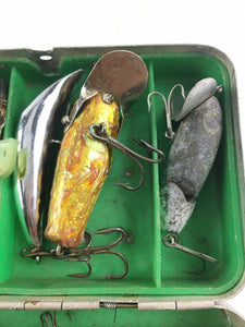 Intage Fishing Lures Lot Of 8 In Metal Box 5011