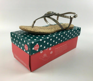 "NIB LINDSAY PHILLIPS CHANGEABLE STRAP SHOE ""MEREDITH"" PEWTER SIZE 9 - LOT 4075"