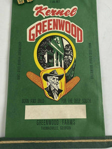 RARE THOMASVILLE, GEORGIA SEED CORN BAG AND 2 CLIPS - KERNEL GREENWOOD - GA