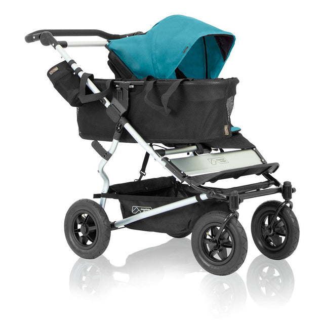mountain buggy duet as single buggy that grows with your family 3/4 view shown in color ocean_ocean