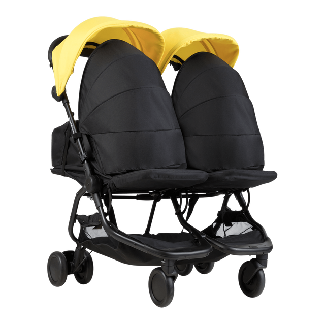 Mountain Buggy newborn cocoons fitted on a nano duo stroller in colour cyber_black