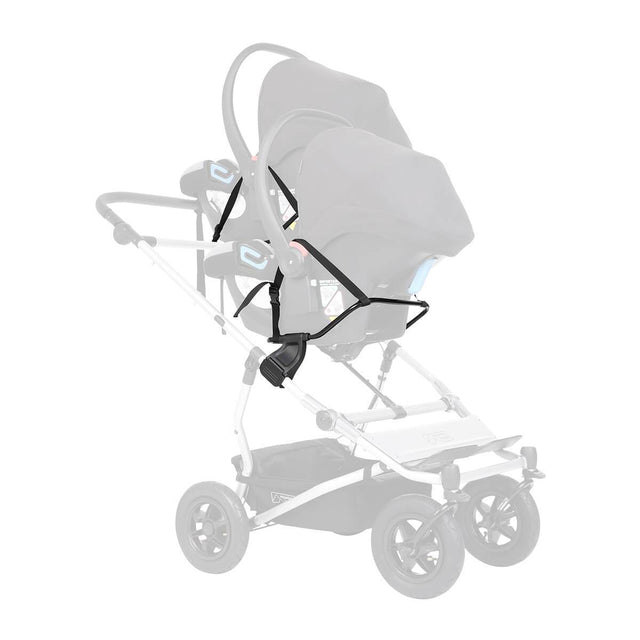 Mountain Buggy two universal car seat adaptors shown attached to duet buggy frame with two infant car seats attached securely colour default_default