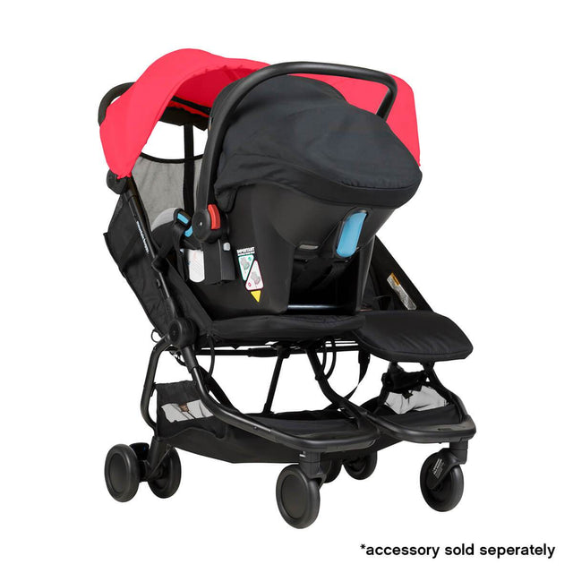 Mountain Buggy nano duo double lightweight buggy fitted with protect car seat in colour ruby_ruby