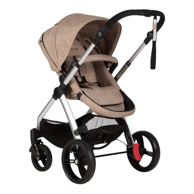 Mountain Buggy cosmopolitan 4 wheel modular buggy in parent facing seat mode in colour mocha_mocha