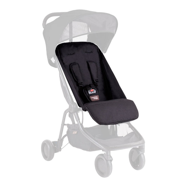 Mountain Buggy replacement nano buggy black seat fabric shown on ghosted buggy frame in black_black