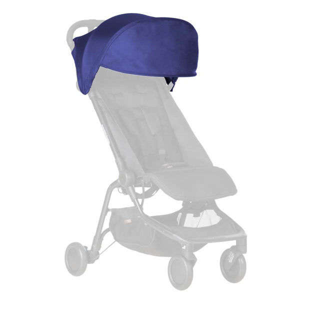 Mountain Buggy replacement sun hood for the nano buggy shown in nautical blue_nautical blue