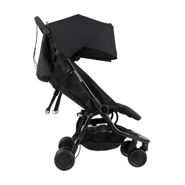 Mountain Buggy nano duo double lightweight buggy side view with seat reclined in colour black_black