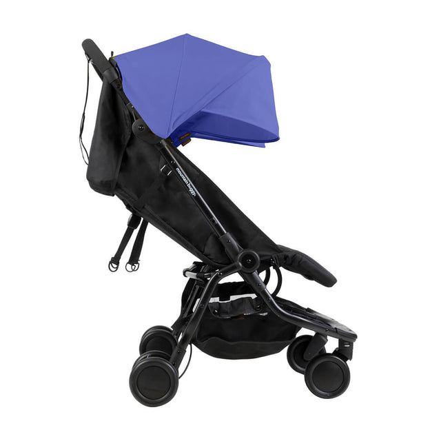 Mountain Buggy nano duo double lightweight buggy side view with seat reclined in colour nautical blue_nautical blue