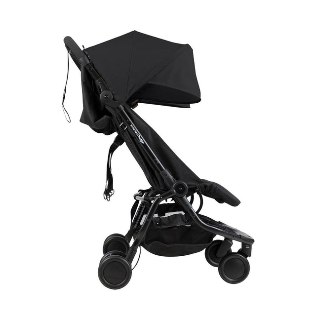 Mountain Buggy nano duo double lightweight buggy side view in colour black_black