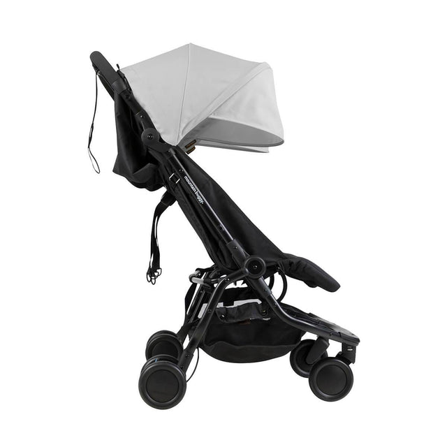 Mountain Buggy nano duo double lightweight buggy side view in colour silver_silver