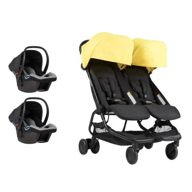 Mountain Buggy nano duo buggy with two protect infant car seats showing the travel system bundle