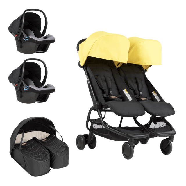 Mountain Buggy nano duo double stroller bundle showing cocoon for twins and two protect infant car seats as part of the bundle