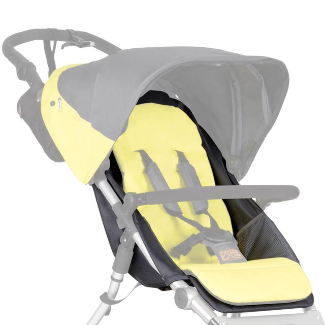 Mountain Buggy replacement seat fabric for terrain stroller shown attached to frame in colour yellow solus_solus