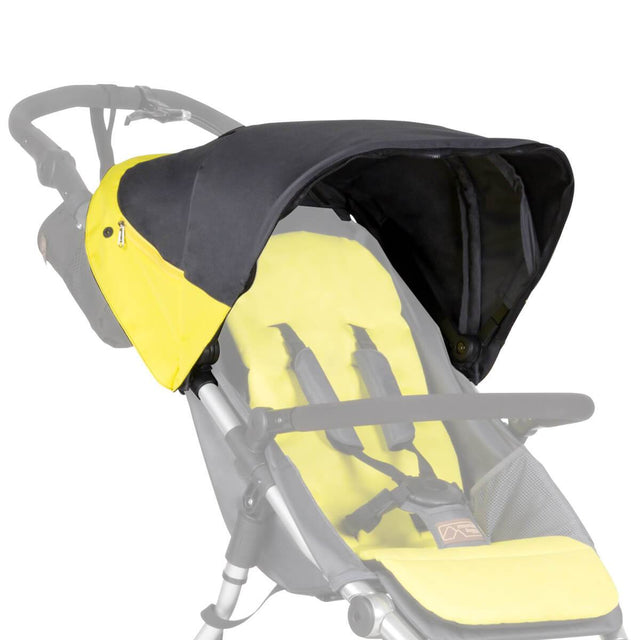 Mountain Buggy replacement sunhood for terrain stroller shown attached to buggy in colour yellow solus_solus