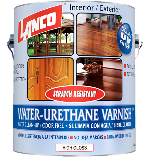 Lanco Water-Urethane Varnish Clear Gloss Interior/Exterior (Barniz Brilloso a Base de Agua)