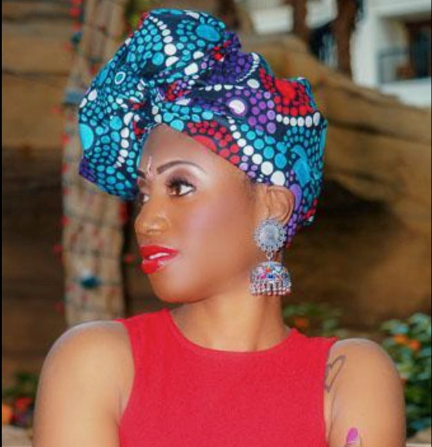 Woman wearing the African head wrap