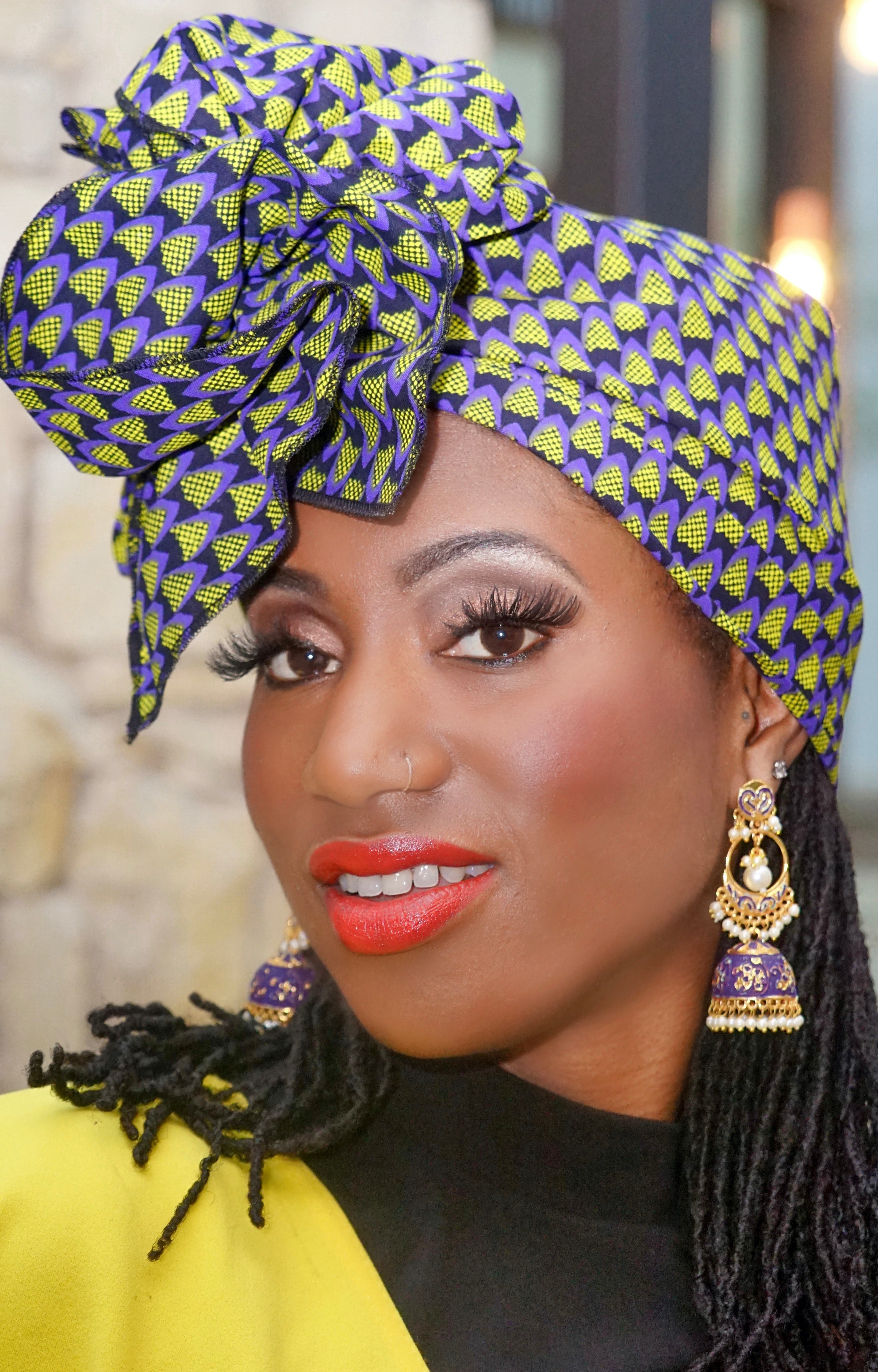 Woman wearing African accessories