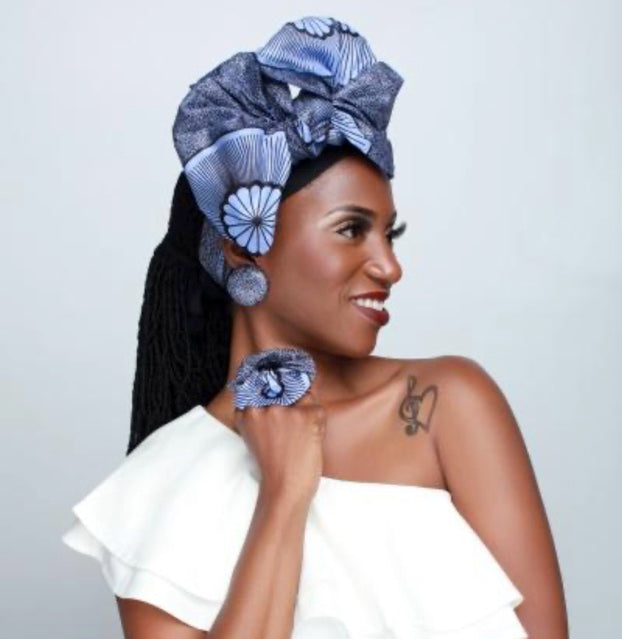 Woman wearing the African head wraps